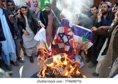 QUETTA, PAKISTAN - DEC 13: Members of Noorzai Qaumi Ittehad are holding protest demonstration against US and Israel, at press club on December 13, 2017 in Quetta.