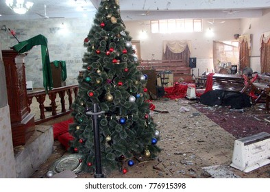 QUETTA, PAKISTAN - DEC 17: Views of venue after suicide bomb explosion at Bethel Memorial Methodist Church located on Zarghoon Road on December 17, 2017 in Quetta.
