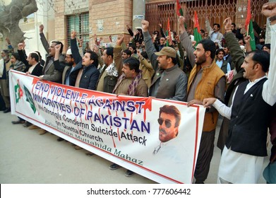 QUETTA, PAKISTAN - DEC 18: Members of BMM are holding protest  demonstration against yesterday suicide bomb explosion at Bethel Memorial Methodist Church,  on December 18, 2017 in Quetta.