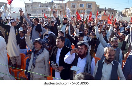 QUETTA, PAKISTAN - DEC 21: Activists of Jamat-ud-Dawah chanting slogans during public gathering against Aleppo massacre, arranged on December 21, 2016 in Quetta.
