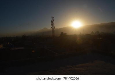 QUETTA, PAKISTAN - DEC 31: Glimpse of last sunset of year 2017, captured over the horizon on December 31, 2017 in Quetta.
