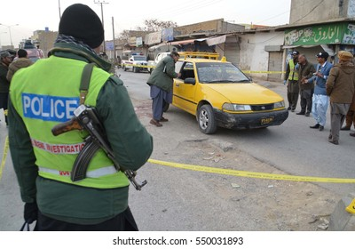QUETTA, PAKISTAN - JAN 06: Law Enforcement personnel are gathering at venue after firing incident at Spini Road on January 06, 2017 in Quetta. At least six people sustained bullet injuries.