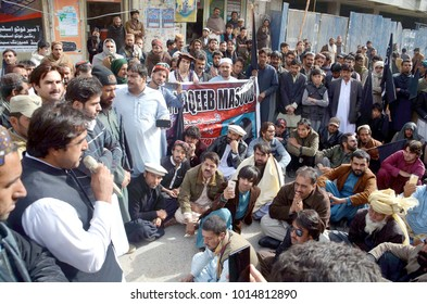 QUETTA, PAKISTAN - JAN 31: Leader and activists of PTI are holding protest demonstration against extra judicial killing of Naqeeb Ullah as they are demanding for justice,on January 31, 2018 in Quetta