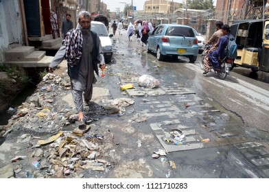 QUETTA, PAKISTAN - JUN 26: Inundated road by overflowing sewerage water creating problems for commuters, showing negligence of concerned authorities, located on Kawari Road on June 26, 2018 in Quetta