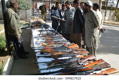 QUETTA, PAKISTAN - MAR 13: Seized armed which recovered from different area of  Balochistan during operations and raids being exposing in front of media on March 13, 2017 in Quetta.