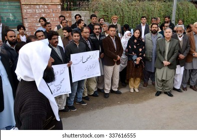QUETTA, PAKISTAN - NOV 10: Members of Balochistan Union of Journalist (BUJ) chant  slogans for ensure safety and security of the journalists during protest rally held on November 10, 2015 in Quetta.