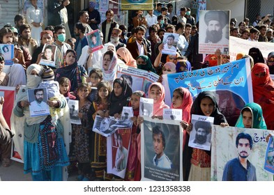 QUETTA, PAKISTAN - NOV 15: Relatives of Missing Persons are holding protest  demonstration for recovery of their love one, at press club on November 15, 2018 in Quetta.