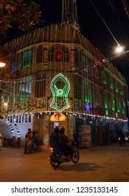 QUETTA, PAKISTAN - NOV 19: A beautiful illuminated view in connection of 12th Rabi-ul-Awwal, the birthday anniversary of Holy Prophet Muhammad (PBUH) coming ahead, on November 19, 2018in Quetta