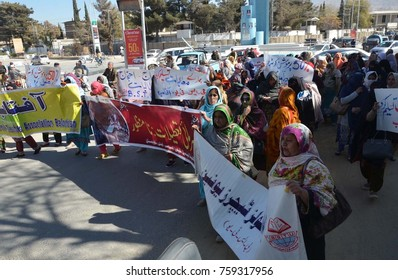 QUETTA, PAKISTAN - NOV 20: Government teachers are holding rally against amendment in schedule of winter vacation, on November 20, 2017 in Quetta.
