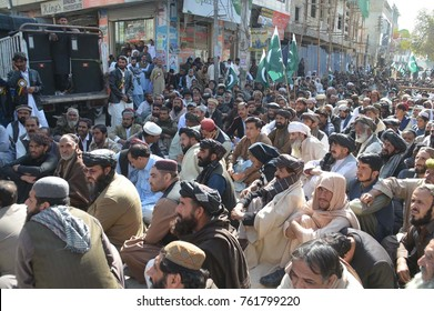 QUETTA, PAKISTAN - NOV 23: People of Khilji Tribe are holding protest demonstration against blockage of their national identity cards by NADRA, on November 23, 2017 In Quetta.