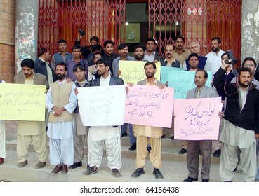 QUETTA, PAKISTAN - OCT 30: Members of Balochistan Union of Journalists (BUJ) are protesting against torture on journalists in Lahore during a demonstration press club on October 30, 2010 at Quetta.