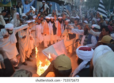 QUETTA, PAKISTAN - SEP 14: Activists of Jamiat-e-Ulema-e-Islam Nazariyati are holding  protest demonstration against massacre of Muslims in Burma, on September 14, 2017 in Quetta.