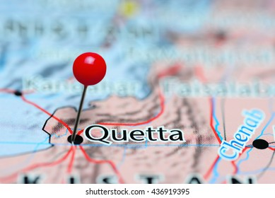 Quetta pinned on a map of Pakistan