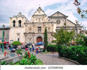Quetzaltenango, Guatemala-10 January, 2017: Quetzaltenango Central Plaza and streets in historic city center