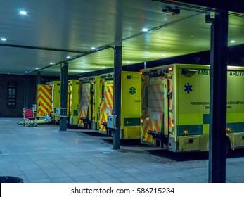 Queue of ambulances outside hospital A&E department