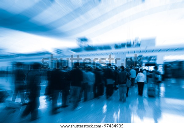 In the queue for the passengers in the airport security check