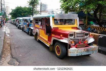 Queue of Typical Jeepneys in Manila, Philippines