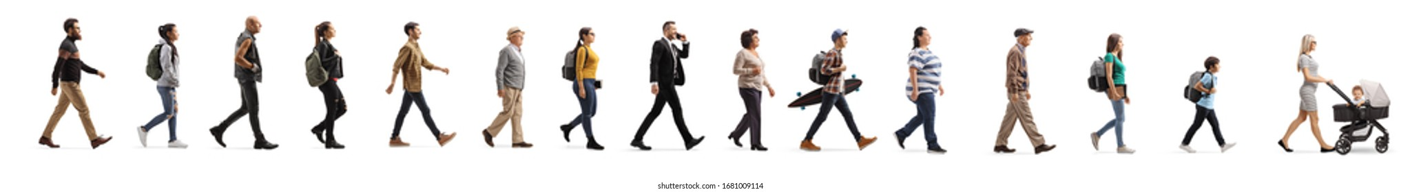 Queue of young and elderly people walking isolated on white background