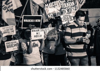 Quezon City, Metro Manila, Philippines - 11/18/16: Student-led protests rocked Manila streets amid surprise hero's burial rites of former ousted dictator Ferdinand Marcos.