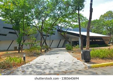 QUEZON CITY, PH - APR. 28: Presidential Car Museum (Museo ng Pampangulong Sasakyan) facade on April 28, 2019 in Quezon City, Philippines.
