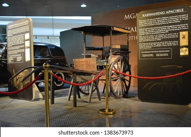 QUEZON CITY, PH - APR. 28: Horse-drawn calash (Kalesa) owned by the family of Leon Apacible display at Presidential Car Museum on April 28, 2019 in Quezon City, Philippines.
