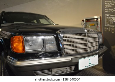 QUEZON CITY, PH - APR. 28: Mercedes-Benz 500 SEL used by President Corazon Aquino display at Presidential Car Museum on April 28, 2019 in Quezon City, Philippines.