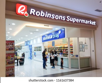 QUEZON CITY, PH - AUG. 17: Robinsons Supermarket at Ayala Cloverleaf interior facade on August 17, 2018 in Quezon City, Philippines. Robinsons Supermarket brand is a grocery store in the Philippines.