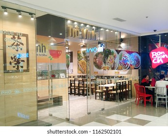 QUEZON CITY, PH - AUG. 17: Tra Vinh Vietnamese noodles facade at Ayala Malls Cloverleaf on August 17, 2018 in Quezon City, Philippines. Tra Vinh brand is a restaurant that serves Vietnamese foods.