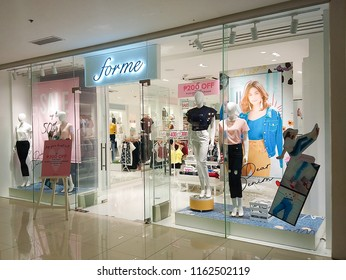 QUEZON CITY, PH - AUG. 17: Forme indoor facade at Ayala Malls Cloverleaf on August 17, 2018 in Quezon City, Philippines. Forme brand is a manufacturer of ladies apparel wears in the Philippines.