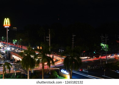 QUEZON CITY, PH - DEC. 13: Mindanao Avenue traffic at night on December 13, 2018 in Quezon City, Philippines. Quezon City is located on a guadalupe plateau northeast of Manila, Philippines.