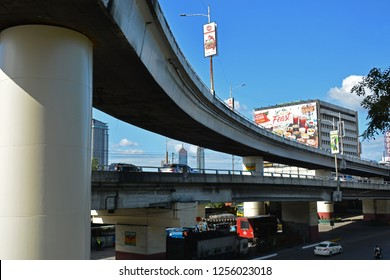 QUEZON CITY, PH - DEC. 8: Fly over bridge at Edsa on December 8, 2018 in Quezon City, Philippines. Edsa is a limited-access circumferential highway around Manila, Philippines.