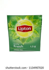 QUEZON CITY, PH - JULY 15: Lipton green tea sachet on July 15, 2018 in Quezon City, Philippines. Lipton brand name is a manufacturer of tea products.