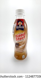 QUEZON CITY, PH - JULY 2: Quaker oat drink mocha chocolate flavor on July 2, 2018 in Quezon City, Philippines. Quaker brand name is a manufacturer of oatmeal in USA.