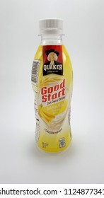QUEZON CITY, PH - JULY 2: Quaker oat drink banana creme flavor on July 2, 2018 in Quezon City, Philippines. Quaker brand name is a manufacturer of oatmeal in USA.