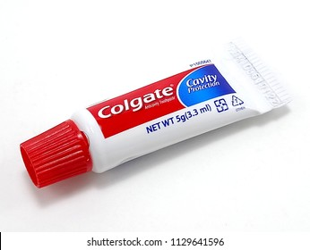 QUEZON CITY, PH - JULY 5: Colgate toothpaste small tube on July 5, 2018 in Quezon City, Philippines. Colgate brand name is a manufacturer of dental toothpaste products in USA.