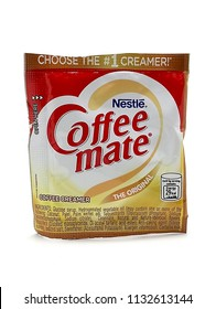 QUEZON CITY, PH - JULY 5: Nestle Coffee Mate creamer sachet on July 5, 2018 in Quezon City, Philippines. Nestle brand name is a manufacturer of food and drink products worldwide.