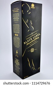 QUEZON CITY, PH - JUNE 18: Johnnie Walker Black Label Scotch Whisky box on June 18, 2018 in Quezon City, Philippines. Johnnie Walker is a brand of Scotch whisky that originated in Scotland.