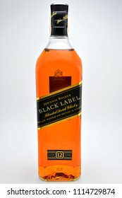 QUEZON CITY, PH - JUNE 18: Johnnie Walker Black Label Scotch Whisky bottle on June 18, 2018 in Quezon City, Philippines. Johnnie Walker is a brand of Scotch whisky that originated in Scotland.