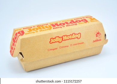 QUEZON CITY, PH - JUNE 18: Jollibee Jolly hotdog sandwich box on June 18, 2018 in Quezon City, Philippines. Jollibee brand is a fast food chain restaurant located in the Philippines.