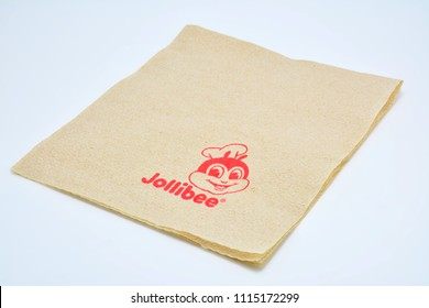 QUEZON CITY, PH - JUNE 18: Jollibee brown tissue paper on June 18, 2018 in Quezon City, Philippines. Jollibee brand is a fast food chain restaurant located in the Philippines.