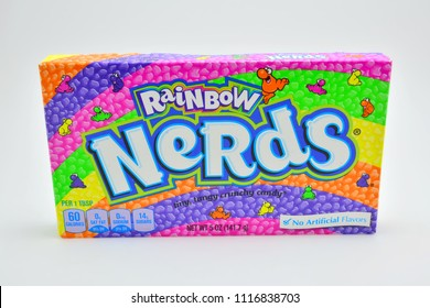 QUEZON CITY, PH - JUNE 20: Rainbow Nerds candy on June 20, 2018 in Quezon City, Philippines. Rainbow Nerds brand is a producer of flavored candies in the USA.