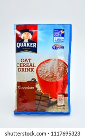 QUEZON CITY, PH - JUNE 20: Quaker oat cereal chocolate drink on June 20, 2018 in Quezon City, Philippines. Quaker brand name is a manufacturer of oat meal in USA.