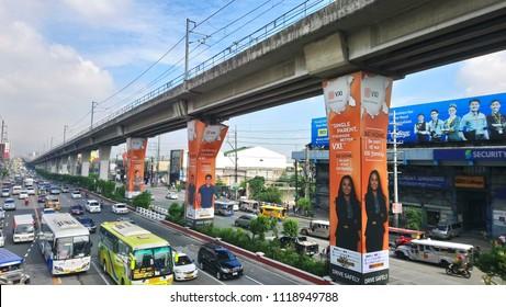 QUEZON CITY, PH - JUNE 23: Epifanio De los Santos Avenue (EDSA) road on June 23, 2018 in Quezon City, Philippines. EDSA is a 54 kilometer stretch road in the Philippines.