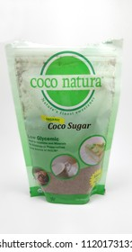 QUEZON CITY, PH - JUNE 23: Coco Natura organic coco sugar on June 23, 2018 in Quezon City, Philippines. Coco Natura brand name is a manufacturer of coco sugar products in the Philippines.