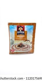 QUEZON CITY, PH - JUNE 23: Quaker instant oatmeal chocolate with milk flavor on June 23, 2018 in Quezon City, Philippines. Quaker brand name is a manufacturer of oatmeal products in USA.