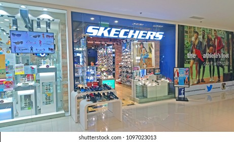 QUEZON CITY, PH - MAY 20: Skechers window display facade on May 20, 2018 in Quezon City, Philippines. Skechers is an American lifestyle and performance footwear company for men, women and children.