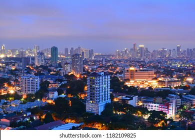QUEZON CITY, PH - SEPT. 16: Twilight scenery and overview of Quezon City on September 16, 2018 in Philippines. Quezon City is located on the Guadalupe Plateau, just northeast of Manila, Philippines
