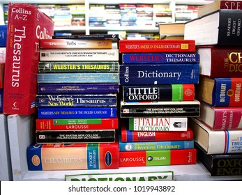 QUEZON CITY CITY, PHILIPPINES - JANUARY 14, 2018: A wide selection of Dictionaries and other reference books on display at a used books store