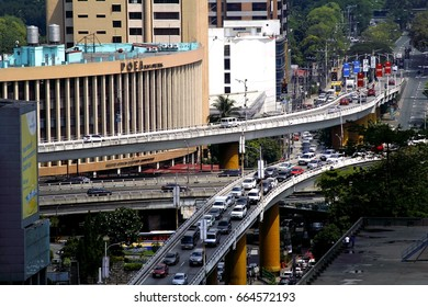 QUEZON CITY, PHILIPPINES - JUNE 15, 2017: Flyovers at the intersection of Ortigas Avenue and Epifanio Delos Santos Avenue or EDSA in Quezon City, Philippines.