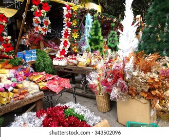 QUEZON CITY, PHILIPPINES - NOVEMBER 22, 2015: A wide variety of home and christmas decorations at a store in Dapitan Market. Dapitan Market is known for its wide variety of home decor products.